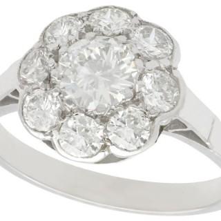 1.61ct Diamond and Platinum Cluster Ring - Antique Circa 1930