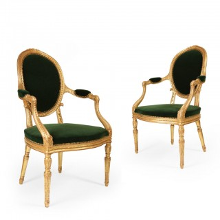 Pair of Giltwood George III armchairs attributed to John Linnell