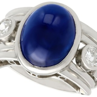 7.62 ct Sapphire and 0.60 ct Diamond, Platinum Dress Ring - Vintage 1950