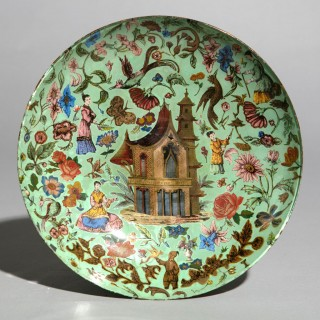 19th Century Green Chinoiserie Decalcomania Glass Dish