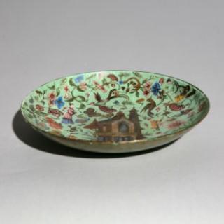 19th Century Green Chinoiserie Decalcomania Glass Dish