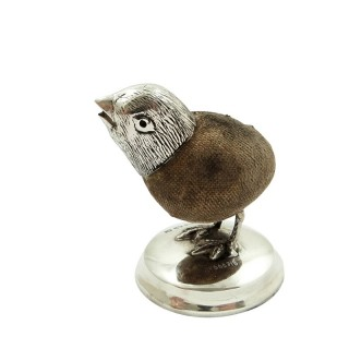 Antique Edwardian Sterling Silver Chick / Bird Pin Cushion 1909