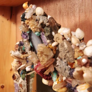 20th Century Grotto Style Shell and Polished stone Wall Mirror