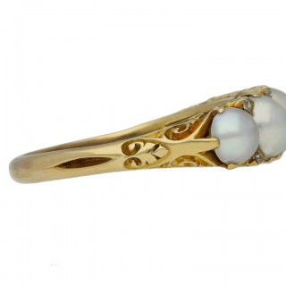 Victorian pearl five stone carved ring, English, circa 1900.