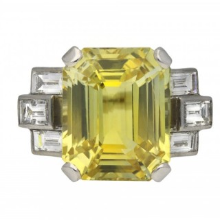 Ceylon yellow sapphire and diamond ring, circa 1950.