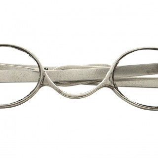Pair of Antique Georgian Sterling Silver Wig Spectacles 1821