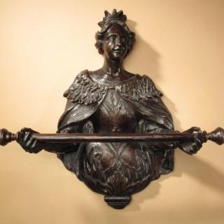 Very Rare 17th Century Sculpture Oak Towel Rail Queen Mary