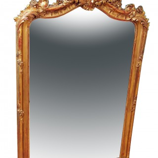19th Century French Gilt Overmantle Mirror