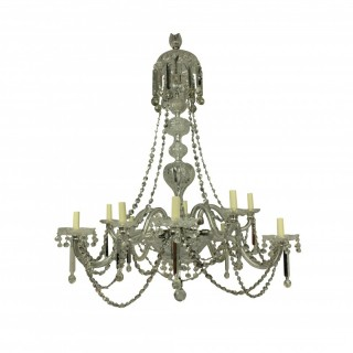 A LARGE XIX CENTURY ENGLISH CUT GLASS CHANDELIER