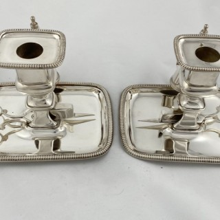 Pair of Antique Sterling George III Silver Chambersticks with original silver trimmers 1811 Wright and Fairbairn of Sheffield