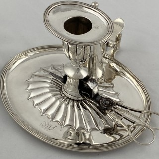 Antique Sterling Silver George III chamberstick with original silver and steel wick trimmers 1798 William Fountain London.