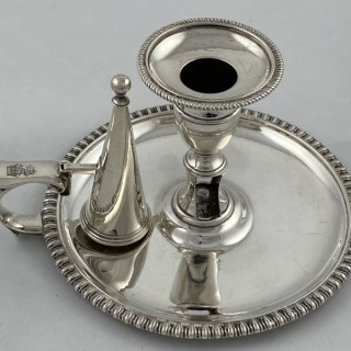 Antique Sterling Silver early Victorian chamberstick made in 1839 by William Eley II of London