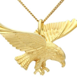 9ct Yellow Gold Eagle Necklace - Antique Circa 1930
