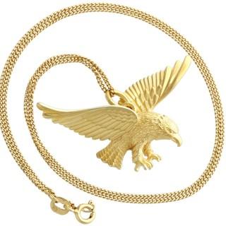 9ct Yellow Gold Eagle Necklace - Antique Circa 1930