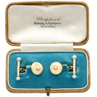 Seed Pearl and 18 ct Yellow Gold Cufflinks - Antique Circa 1900