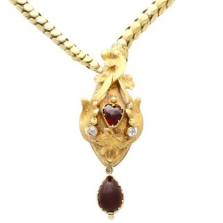 3.06 ct Garnet and 0.13 ct Diamond, 21 ct Yellow Gold Snake Necklace - Antique Victorian Circa 1890