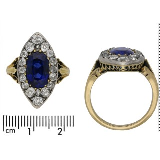 Victorian Ceylon sapphire and diamond marquise cluster ring, circa 1880.
