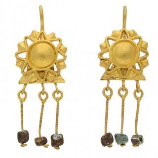 Ancient Roman gold sunburst earrings, circa 2nd-3rd century AD.