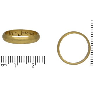 Gold posy ring, 'A true friends gift', English, circa late 17th-early 18th century.