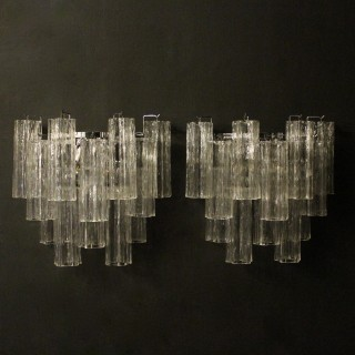 Italian Pair Murano Tronchi Twin Wall Lights