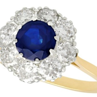 1.05 ct Sapphire and 1.45 ct Diamond, 18 ct Yellow Gold Dress Ring - Vintage Circa 1940