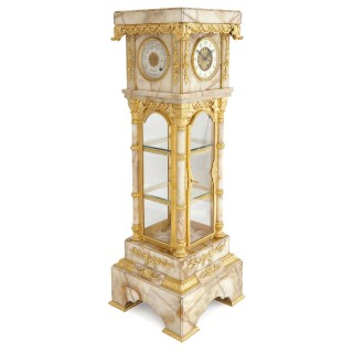 Neoclassical style white onyx and gilt bronze pedestal clock and barometer