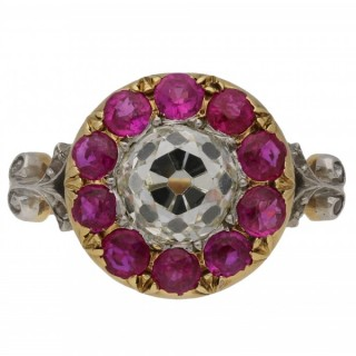 Belle Époque diamond and Burmese ruby coronet cluster ring by Maurice Beck, French, circa 1910.