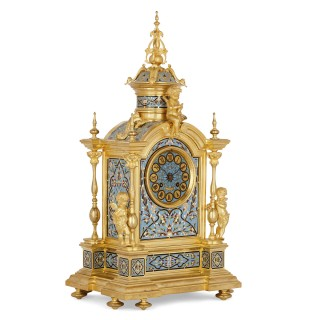 Renaissance style gilt bronze and enamel mantel clock
