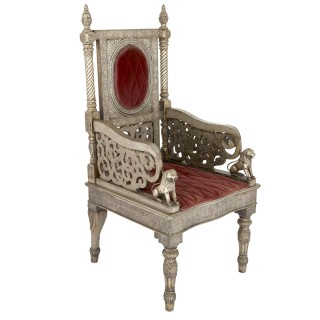 Silvered metal and red velvet throne chair