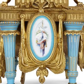 Gilt bronze and Sèvres style porcelain clock garniture