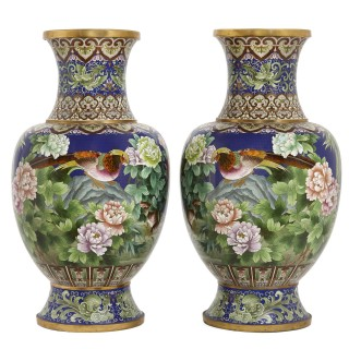 Pair of Chinese enamel vases decorated with traditional birds and flowers