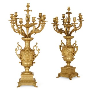 Pair of gilt bronze table candelabra by Ferdinand Barbedienne
