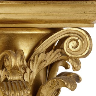 Pair of red marble and gilt bronze Corinthian columns