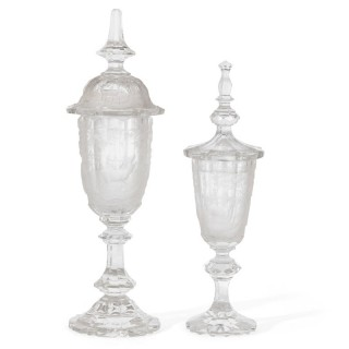 Two antique Bohemian glass goblets