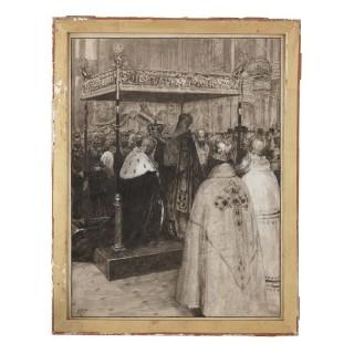 Russian watercolour of the coronation of a Tsar