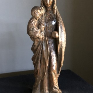 Woodcarving of Madonna and child c1500