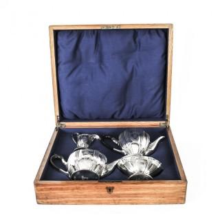 Antique Silver plated cased Tea Set Walker & Hall, Sheffield c 1860 19th C