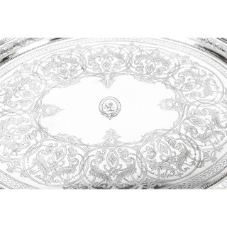 Antique Victorian Oval Silver Plated Twin Handled Tray 1870 19th Century