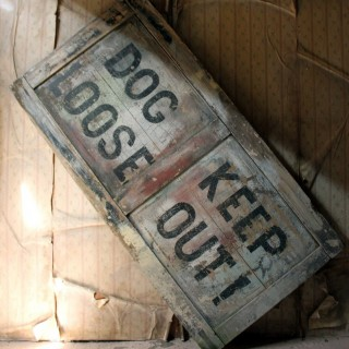 A Large Mid 20thC Painted Pine Sign; 'Dog Loose Keep Out!' c.1960