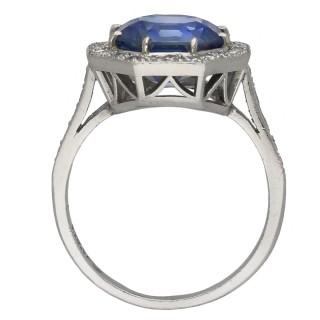 Ceylon sapphire and diamond coronet cluster ring, circa 1950.