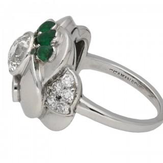 Vintage diamond and emerald flower ring by Seaman Schepps, American, circa 1965.