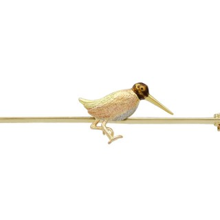Enamel, 15ct Gold and Platinum Snipe Brooch - Antique Circa 1930