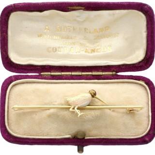 Enamel, 15ct Gold and Platinum Snipe Brooch - Antique Circa 1930