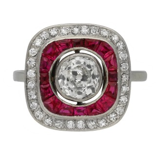 Art Deco ruby and diamond target ring, circa 1920.