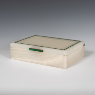 White Agate Stone Box with Inlaid Malachite