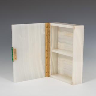 White Agate Stone Box with Inlaid Malachite