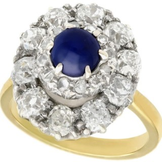 1.02 ct Sapphire and 1.83 ct Diamond, 18 ct Yellow Gold Cluster Ring - Antique Circa 1900