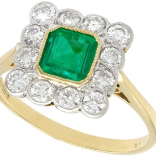 0.88 ct Emerald and 0.60 ct Diamond, 18 ct Yellow Gold Dress Ring - Vintage 1990