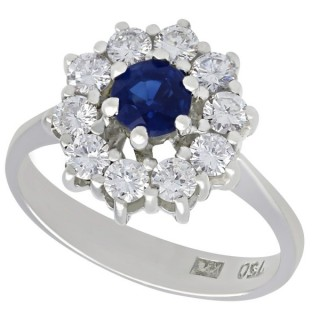 0.46 ct Sapphire and 0.45 ct Diamond, 18 ct White Gold Cluster Ring - Vintage Circa 1970
