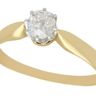 0.45 ct Diamond and 14 ct Yellow Gold Solitaire Ring - Antique Circa 1910